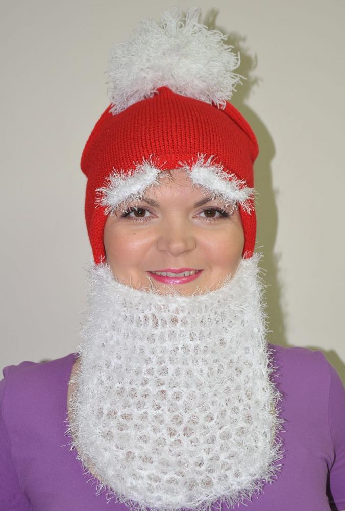 Шапка Деда Мороза спицами - вязание к Новому Году